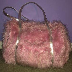Handbags - Adorable Pink Fuzzy Duffel